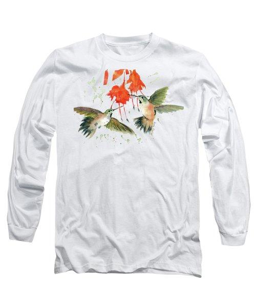 Hummingbird Watercolor Long Sleeve T-Shirt by Melly Terpening