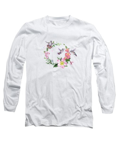 Hummingbird Wreath In Watercolor Long Sleeve T-Shirt
