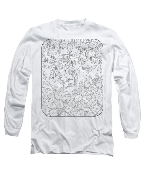 Hummingbirds And Flowers Coloring Page Long Sleeve T-Shirt by Crista Forest