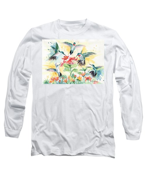 Hummingbirds Party Long Sleeve T-Shirt by Melly Terpening