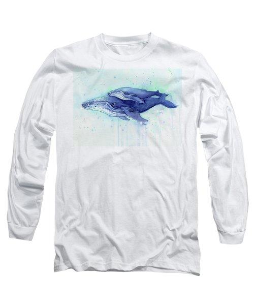 Humpback Whale Mom And Baby Watercolor Long Sleeve T-Shirt