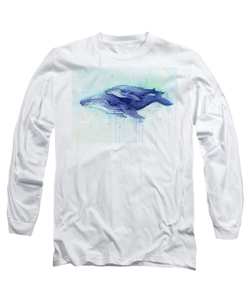 Humpback Whales Mom And Baby Watercolor Painting - Facing Right Long Sleeve T-Shirt