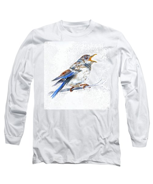 Hungry Fledgling Blue Bird Long Sleeve T-Shirt
