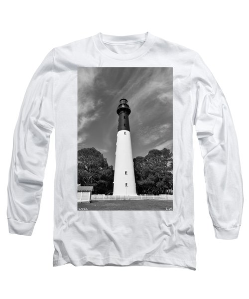 Hunting Island Lighthouse Beaufort Sc Black And White Long Sleeve T-Shirt