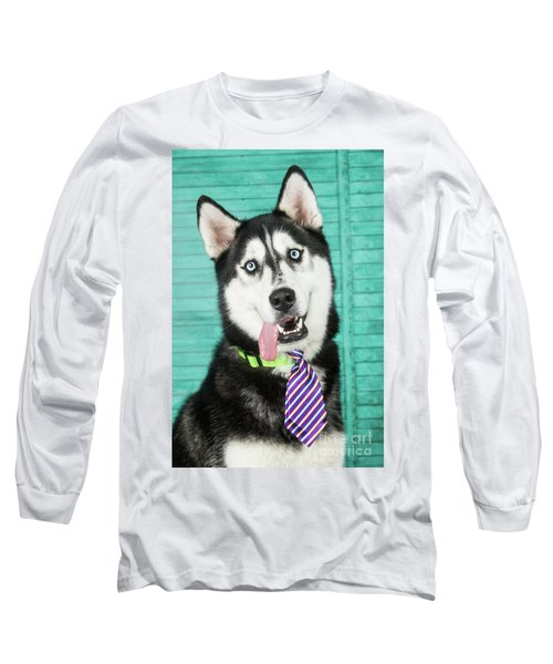 Husky With Tie Long Sleeve T-Shirt by Stephanie Hayes