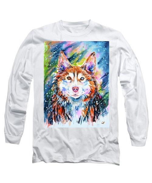 Long Sleeve T-Shirt featuring the painting Husky by Zaira Dzhaubaeva