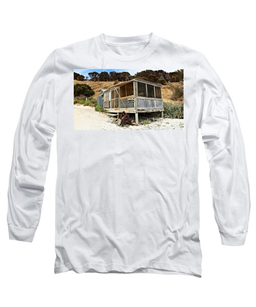 Long Sleeve T-Shirt featuring the photograph Hut At Western River Cove by Stephen Mitchell