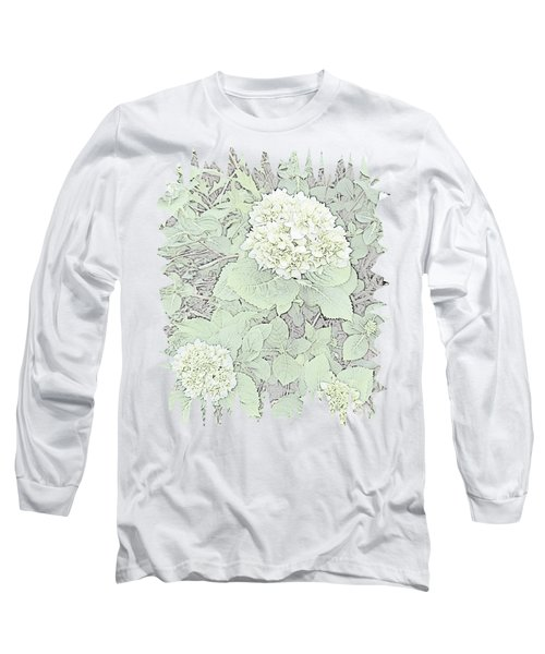 Hydrangea Pencil Sketch With Jagged Edge  Long Sleeve T-Shirt