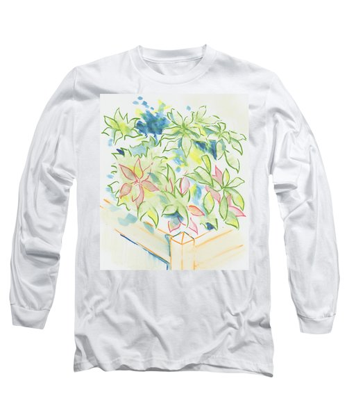 Hydrangea Plant Growing Out Of A Square Wooden Planter Long Sleeve T-Shirt