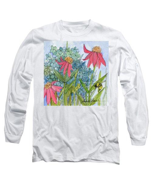 Hydrangea With Bee Long Sleeve T-Shirt