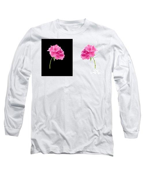 Hydrangeas On Black And White Long Sleeve T-Shirt