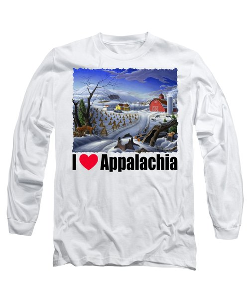 I Love Appalachia - Rural Winter Landscape Long Sleeve T-Shirt