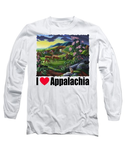 I Love Appalachia T Shirt - Deer Chipmunk High Meadow Appalachian Landscape Long Sleeve T-Shirt