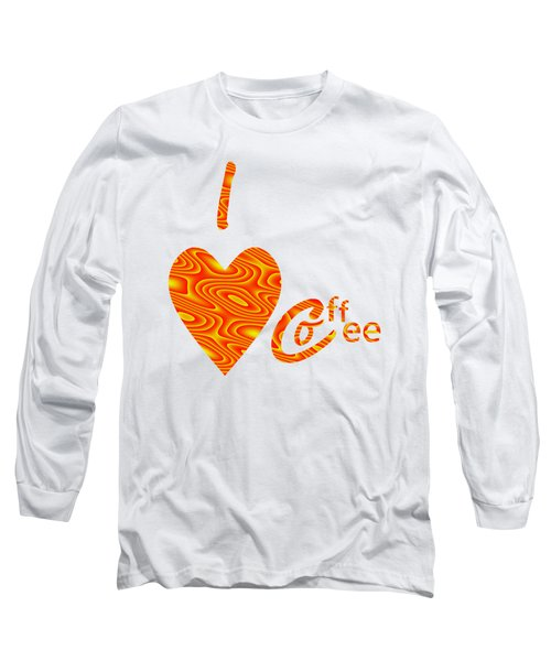 I Love Coffee Peach And Yellow Long Sleeve T-Shirt by Kathleen Sartoris