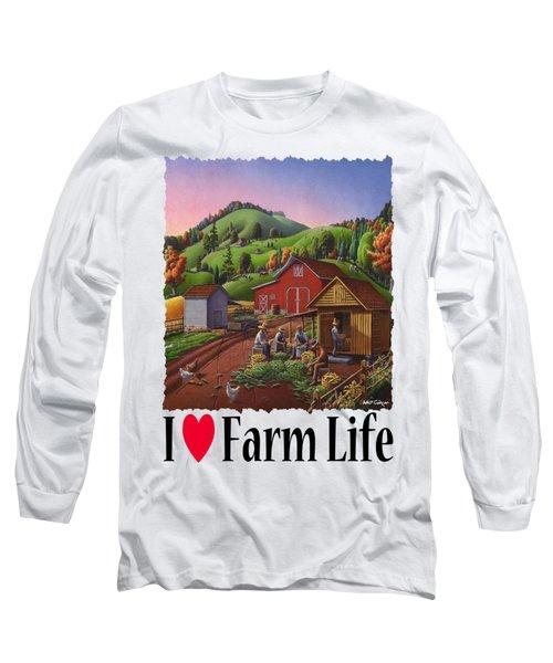 I Love Farm Life - Farmers Shucking Corn - Corncrib - Corn Crib - Farm Landscape 2 Long Sleeve T-Shirt