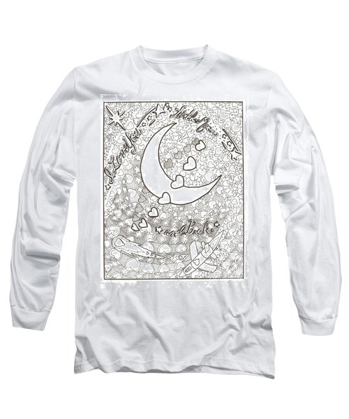 Long Sleeve T-Shirt featuring the drawing I Love You To The Moon And Back by Wendy Coulson
