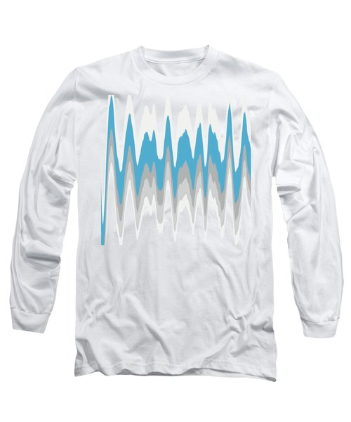 Long Sleeve T-Shirt featuring the mixed media Ice Blue Abstract by Christina Rollo