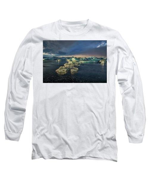Long Sleeve T-Shirt featuring the photograph Ice Chunks by Allen Biedrzycki