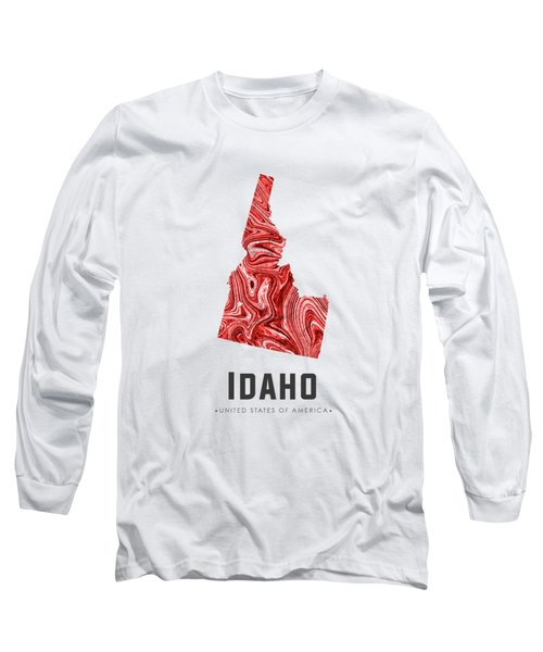 Idaho Map Art Abstract In Red Long Sleeve T-Shirt