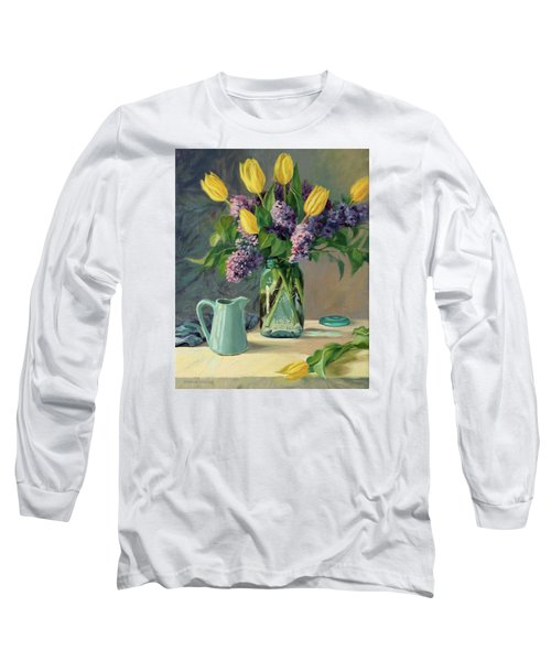 Ideal - Yellow Tulips And Lilacs In A Blue Mason Jar Long Sleeve T-Shirt by Bonnie Mason