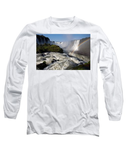 Iguassu Falls With Rainbow Long Sleeve T-Shirt by Aivar Mikko