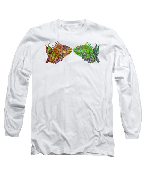 Long Sleeve T-Shirt featuring the mixed media Iguana Love by Carol Cavalaris