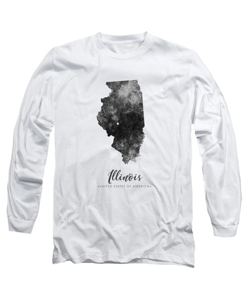 Illinois State Map Art - Grunge Silhouette Long Sleeve T-Shirt