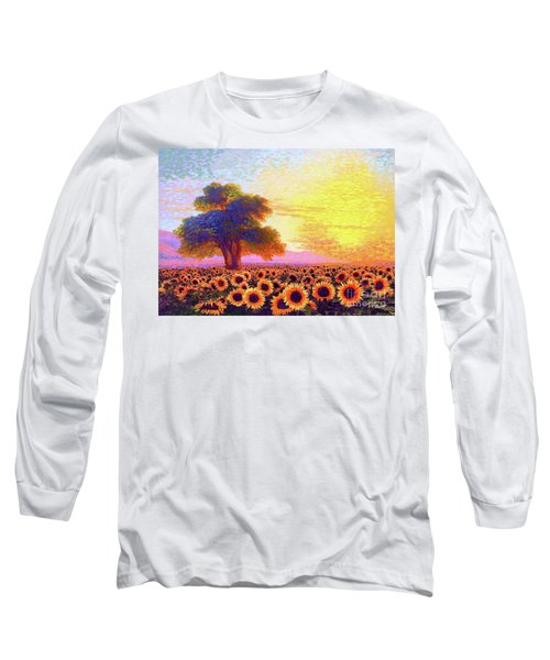 In Awe Of Sunflowers, Sunset Fields Long Sleeve T-Shirt