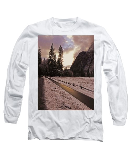 In Between Snow Falls Long Sleeve T-Shirt by Walter Fahmy