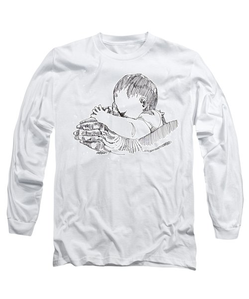 Long Sleeve T-Shirt featuring the drawing In His Hands by Seth Weaver