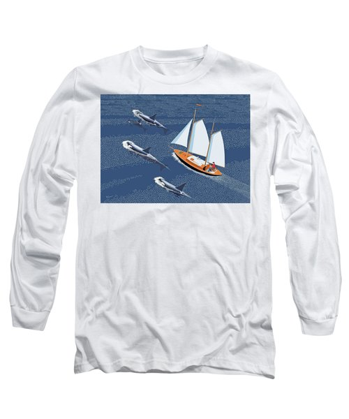 Long Sleeve T-Shirt featuring the digital art In The Company Of Whales by Gary Giacomelli