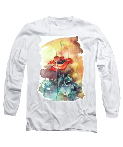 Long Sleeve T-Shirt featuring the painting In The Turquoise Coat by Anna Ewa Miarczynska
