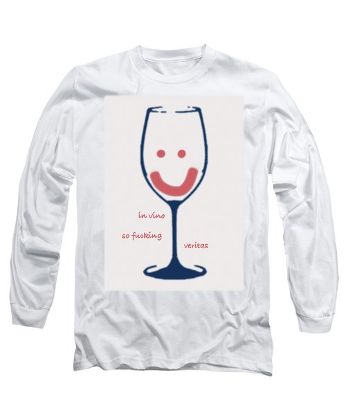 Long Sleeve T-Shirt featuring the drawing In Vino So Fucking Veritas by Frank Tschakert