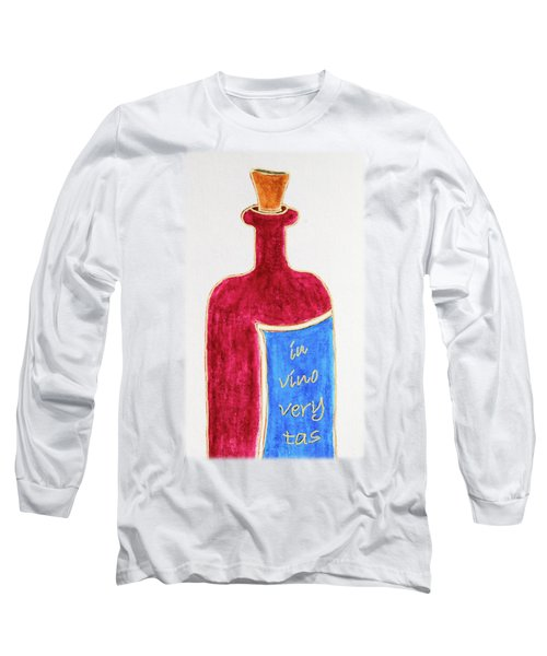 Long Sleeve T-Shirt featuring the drawing In Vino Very Tas by Frank Tschakert