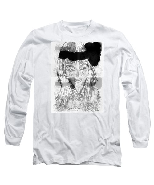 Long Sleeve T-Shirt featuring the mixed media Indian by Ann Calvo