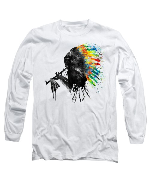 Indian Silhouette With Colorful Headdress Long Sleeve T-Shirt by Marian Voicu