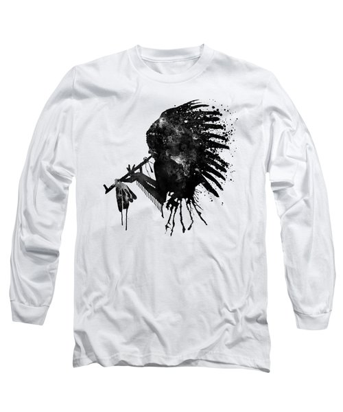 Long Sleeve T-Shirt featuring the mixed media Indian With Headdress Black And White Silhouette by Marian Voicu