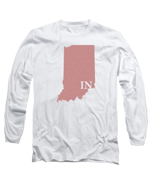 Indiana State Map With Text Of Constitution Long Sleeve T-Shirt