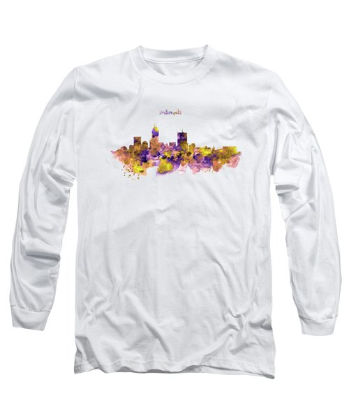 Indianapolis Skyline Silhouette Long Sleeve T-Shirt