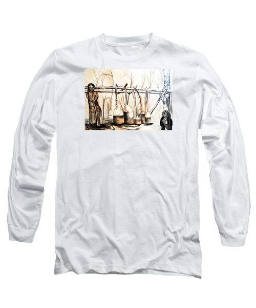 Indians Making Maple Sugar. Cass Lake. 1905  Long Sleeve T-Shirt by Ayasha Loya
