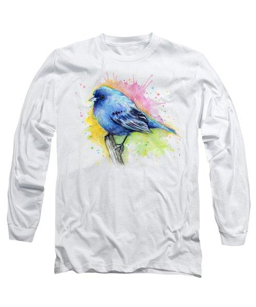 Indigo Bunting Blue Bird Watercolor Long Sleeve T-Shirt by Olga Shvartsur