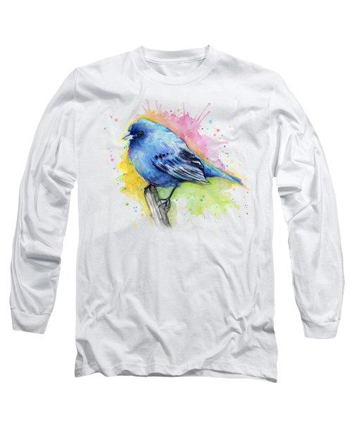 Indigo Bunting Blue Bird Watercolor Long Sleeve T-Shirt