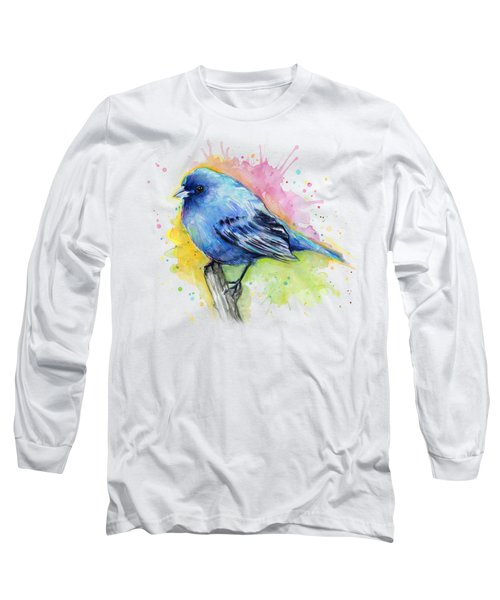 Indigo Bunting Blue Bird Watercolor Long Sleeve T-Shirt