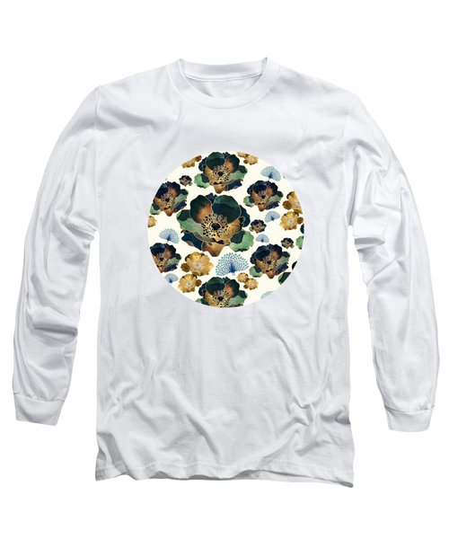 Indigo Flowers And Peacocks Long Sleeve T-Shirt