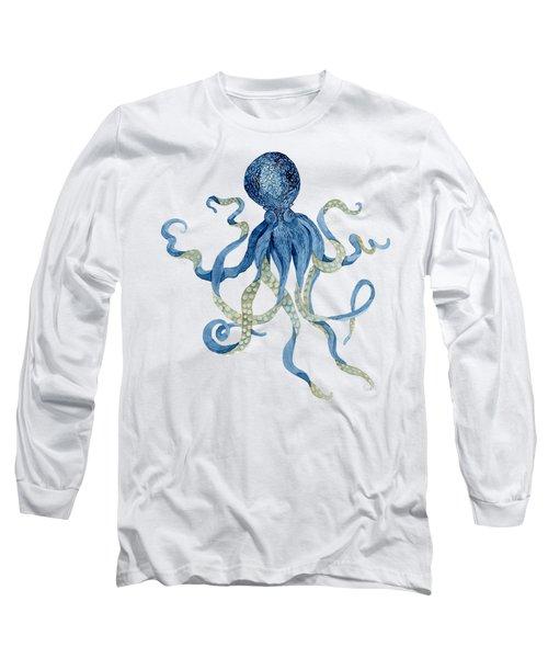 Indigo Ocean Blue Octopus  Long Sleeve T-Shirt by Audrey Jeanne Roberts