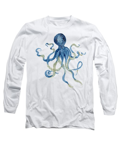 Indigo Ocean Blue Octopus  Long Sleeve T-Shirt