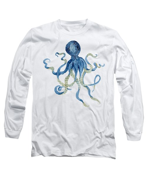 Indigo Ocean Blue Octopus  Long Sleeve T-Shirt