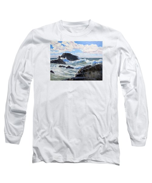 Long Sleeve T-Shirt featuring the painting Indomitable Rock by Lawrence Dyer