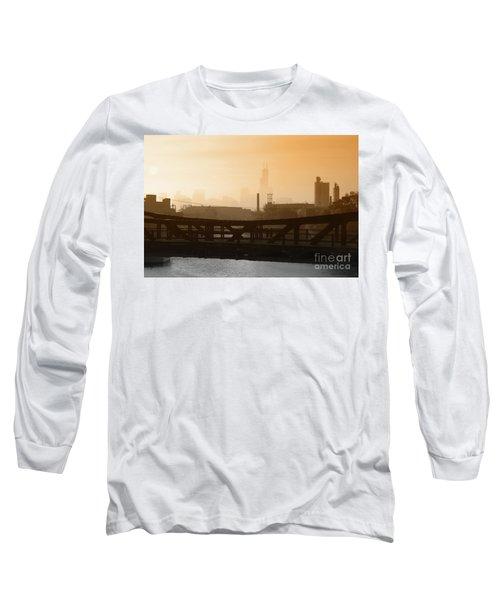 Industrial Foggy Chicago Skyline Long Sleeve T-Shirt