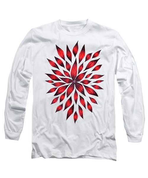 Ink Drawn Abstract Red Doodle Flower Long Sleeve T-Shirt
